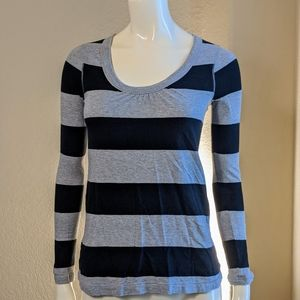 Black and Gray Stripped Long Sleeve Crew neck shir